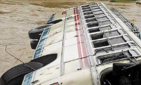 Bus, Hit, Dividers, Overturned, Injured