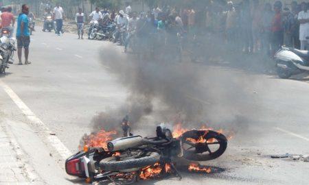 Angry, Villagers, Burn, Bike, Hotel, Haryana