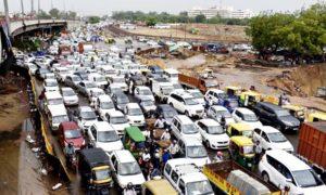 Heavy Rain, Relief, Traffic, Road, Haryana