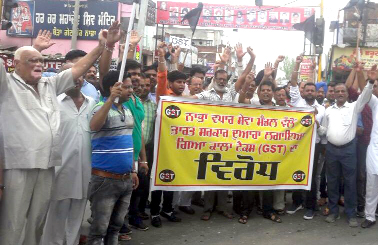 Merchants, Protested, Government, GST, Punjab
