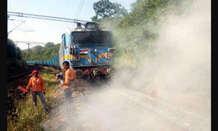 Running, Train,Engine, Catches, Fire, Rajasthan