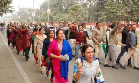 Teacher, Protest, MP, Residence, Haryana