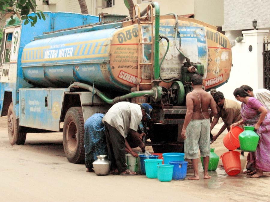 Drinking, Water, Problem, Villagers, Tanker