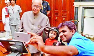 President, Pranab Mukherjee, Launches, Mobile App, Selfie With Daughter, Karnal, Haryana