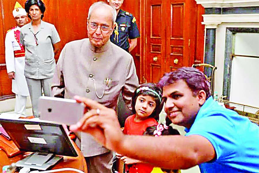 President, Pranab Mukherjee, Launches, Mobile App, Selfie With Daughter, Karnal, Haryana