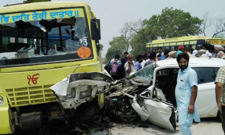 Killed, Collision, School Bus, Car, Accident, Punjab