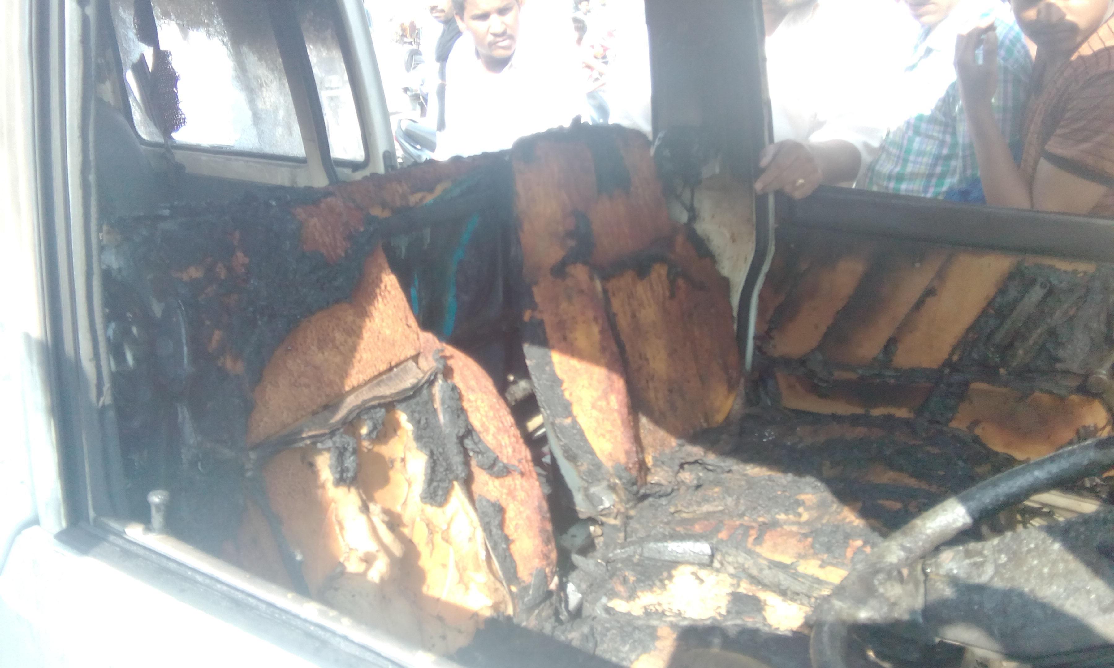 Fire, Maruti Van, Scorched, Injured, Punjab
