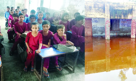 Water Logging, Govt School, Rain, Student, Worried, Haryana