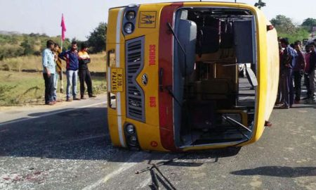 Raod Accident, School Bus, Steering Fail, Death, Injured