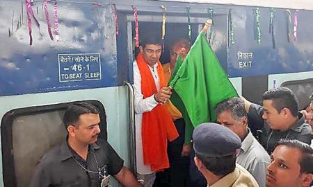 MP, NihalChand, Nanded Train, Green Flag, Sriganganagar, Rajsthan