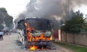 Fire, bus, Ramganga, Bridge