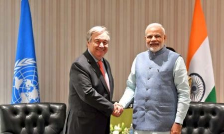 Modi and Gitterres discuss the issue of global climate change