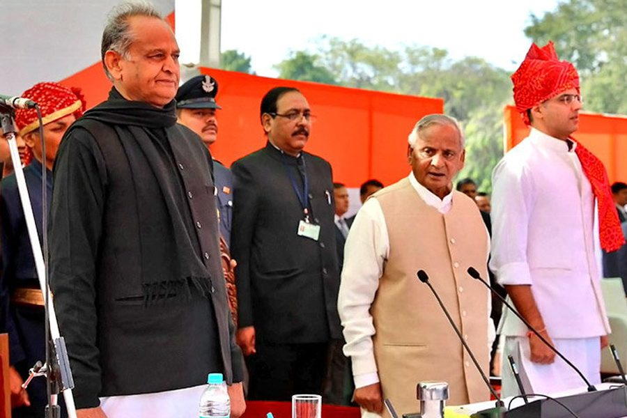 Rajasthan Gehlot Takes Oath As Deputy Chief Minister By Chief Minister And Pilot