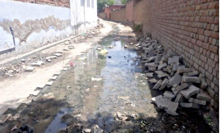 Dirty water accumulated in the streets