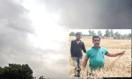 Farmer worried with light drizzling