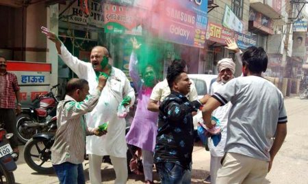 BJP worker in saffron color, celebrated celebration