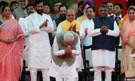 Modi and 57 ministers sworn in