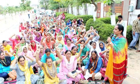 Demonstration of Anganwadi workers