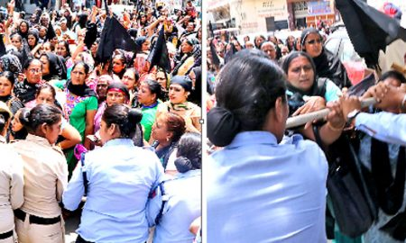 Anganwadi workers land on demands