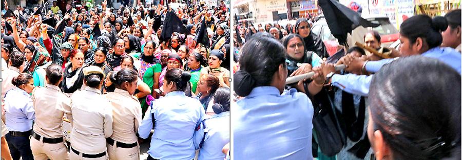 Anganwadi workers land on demands