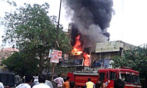 Fire in four shops, loss of millions