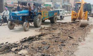 Yamini road repair begins with rain