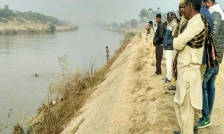 Youth leap into Indira canal with two children