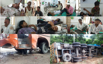 two road accidents in Five dead , two dozen injured