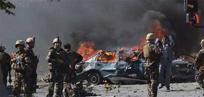 A vehicle of security force in the IID explosion Damaged
