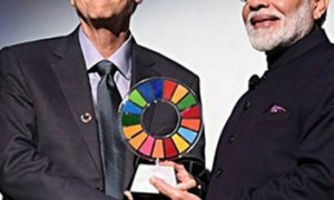 Modi honored with Global Goalkeeper Award