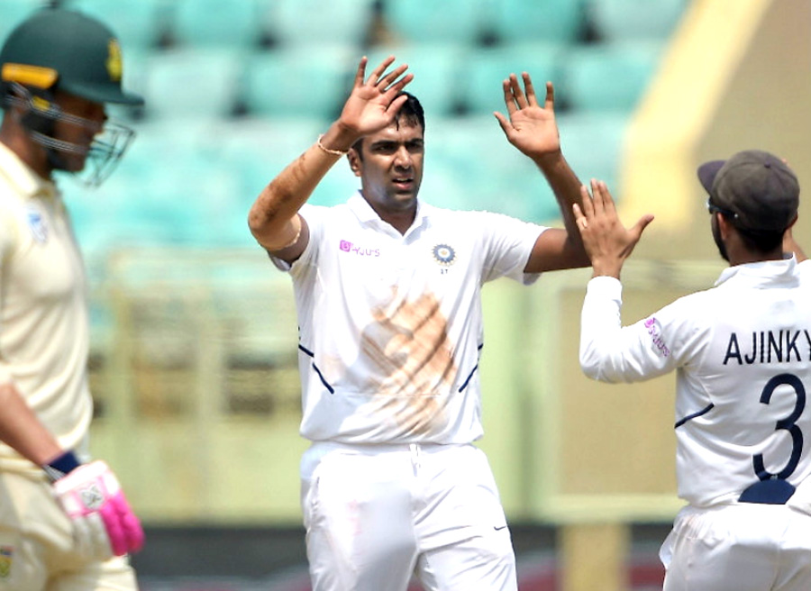 Achievement: Ashwin equals Muralitharan the lowest taking 350 wickets in 66 Tests.