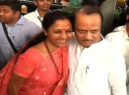 Maharashtra: MLAs swear in, Supriya hugged Ajit