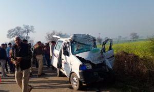 A horrific road accident near Rakhi Shahpur village on Narnaud to Uchana road