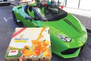 Mango home delivery happening on Lamborghini in Dubai