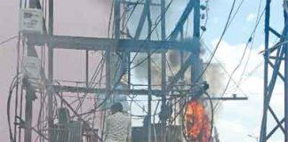 Transformer caught fire